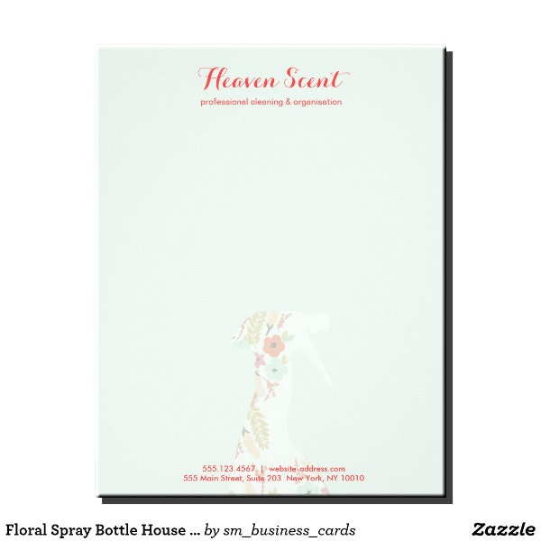 floral spray cleaning letterhead example
