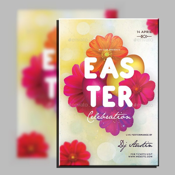 Floral Typographic Easter Flyer Template