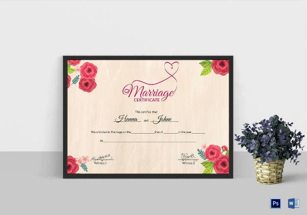 floral wedding certificate template