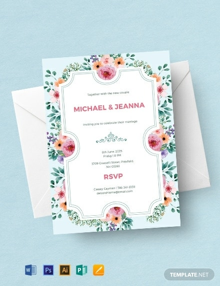 floral wedding ticket invitation example
