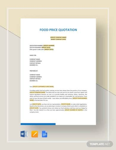 food price quotation template