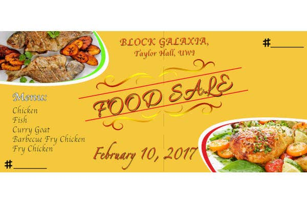 food sale ticket example
