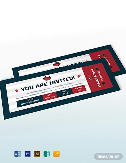 football birthday invitation ticket example