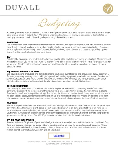 formal catering budgeting