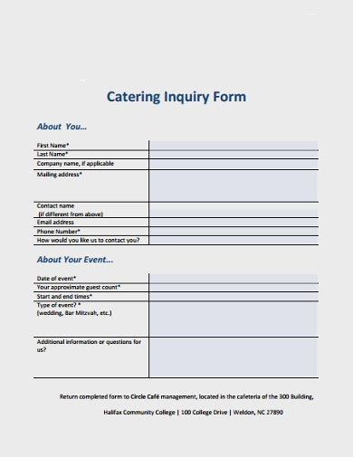 formal catering inquiry form