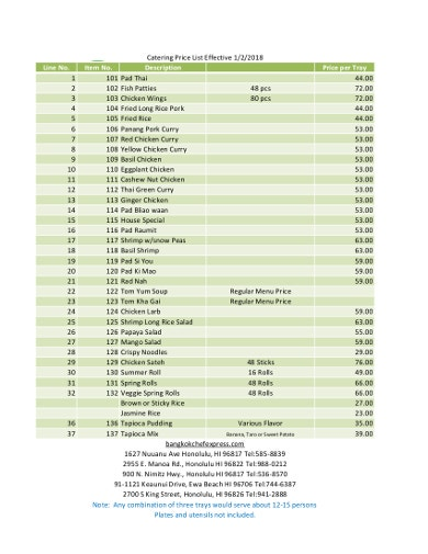 formal catering price list