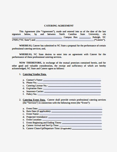 formal catering service agreement template