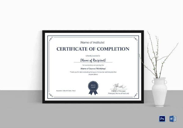 formal completion certificate template