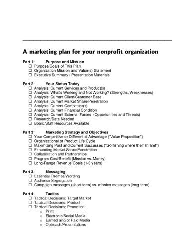 formal nonprofit marketing plan