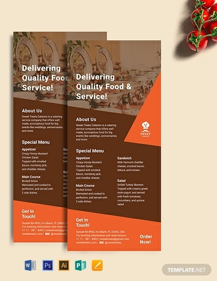 formal restaurant catering rack card