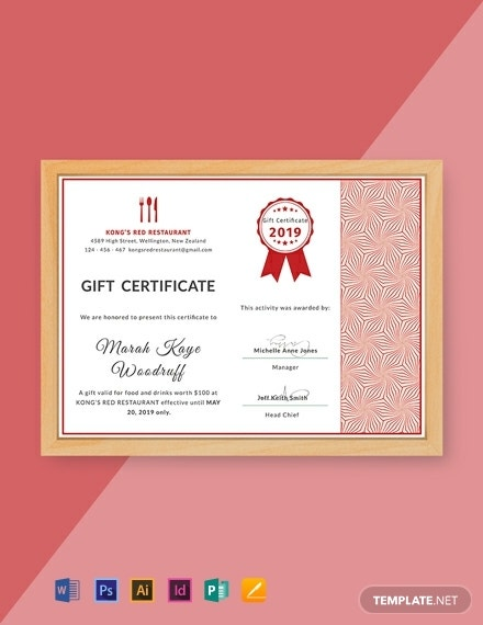 formal restaurant gift certificate format