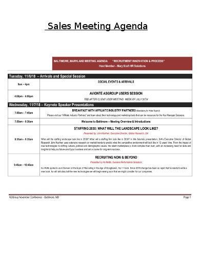 formal sales meeting agenda template