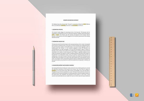 formal wedding decoration contract template