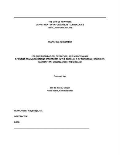 franchise agreement for public communications structures 01