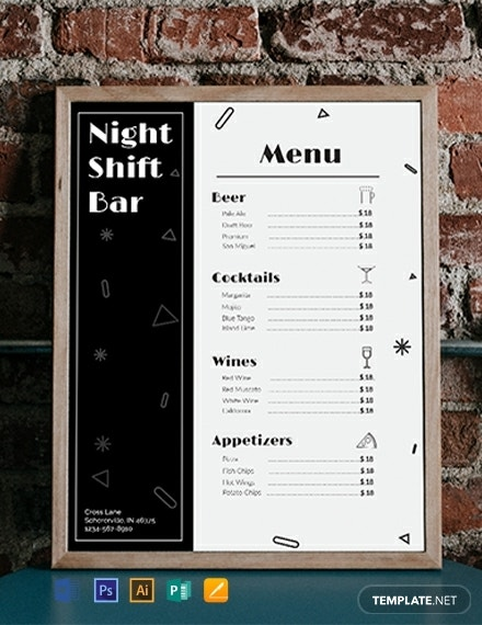free bar menu template 440x570 1
