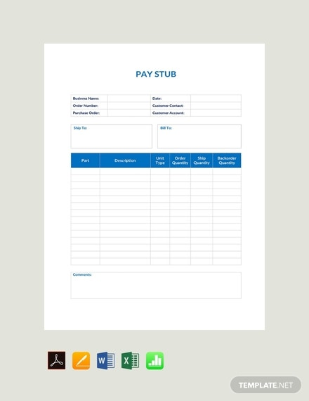 free basic pay stub template 440x570 1