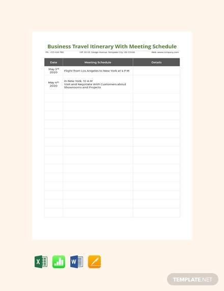 free business travel itinerary with meeting schedule template 440x570 13