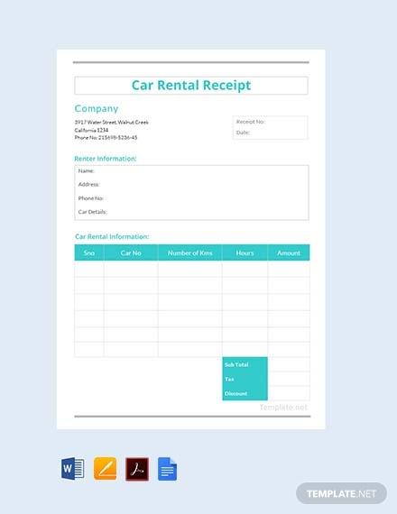 free car rental receipt template 440
