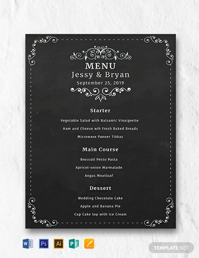 free chalkboard wedding menu template