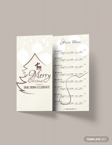 free christmas restaurant menu brochure template