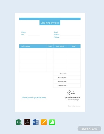 free cleaning invoice template 440x570 1