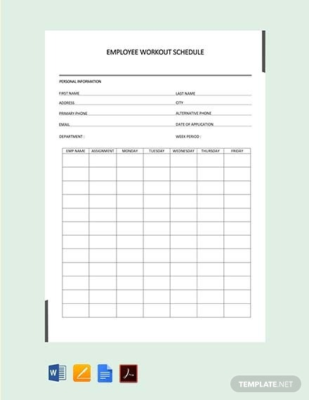 free employee workout schedule2