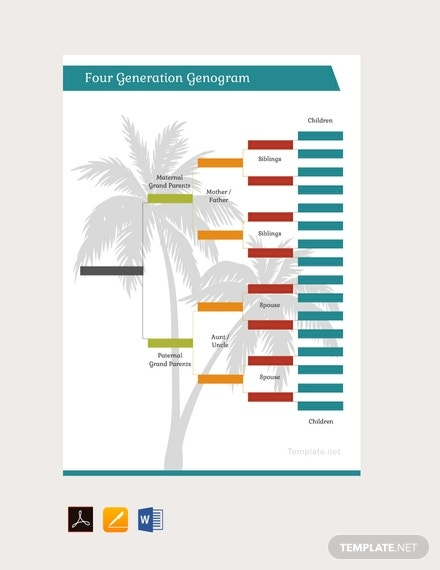 free four generation genogram template 440x570 1