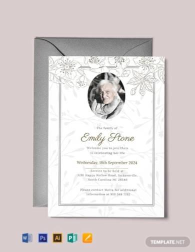 free funeral announcement invitation
