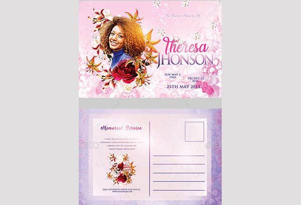 free funeral postcard template