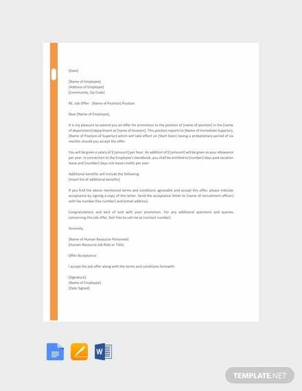 free hr promotion letter template 440x570 1