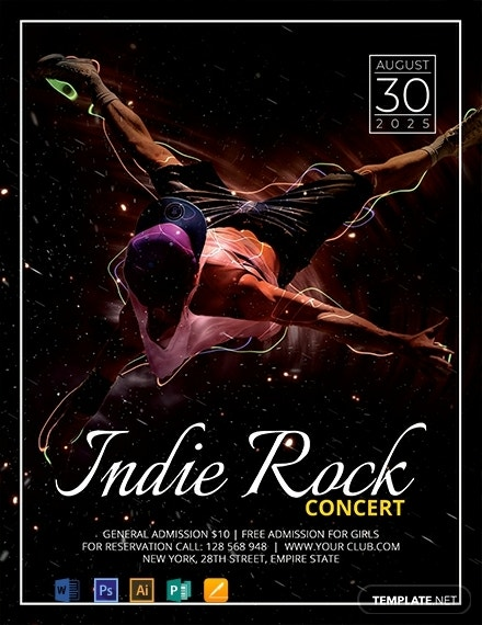free indie concert flyer template 440x570 1
