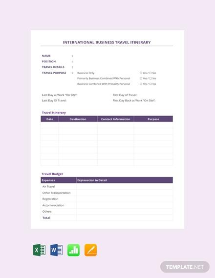 free international business travel itinerary template 440x570 11