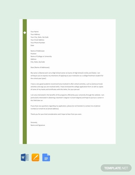 free letter template of intent for college 440x570 1