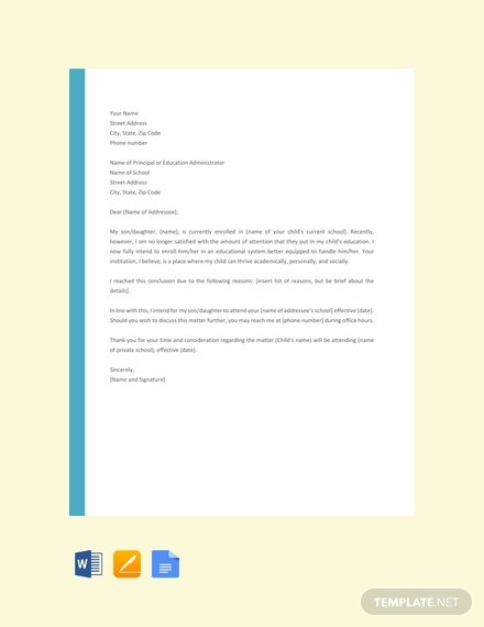 free letter template of intent for school 440x570 1