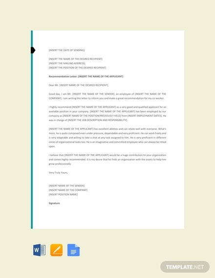 free letter template of recommendation for a co 440x570 1