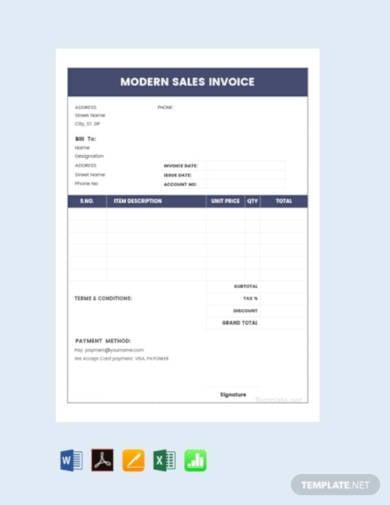 free modern sales invoice