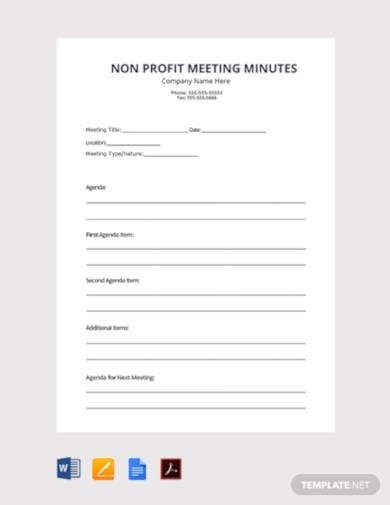 free non profit meeting minutes
