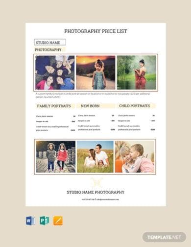 free photography studio price list template