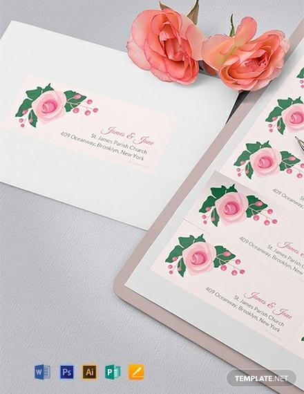 free pink wedding address label template 440x570 1