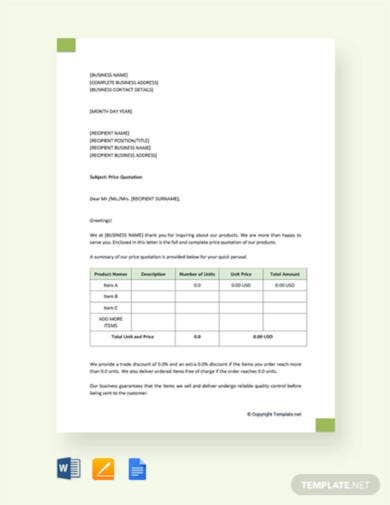 free price quotation letter