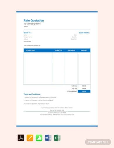 free rate quotation sample