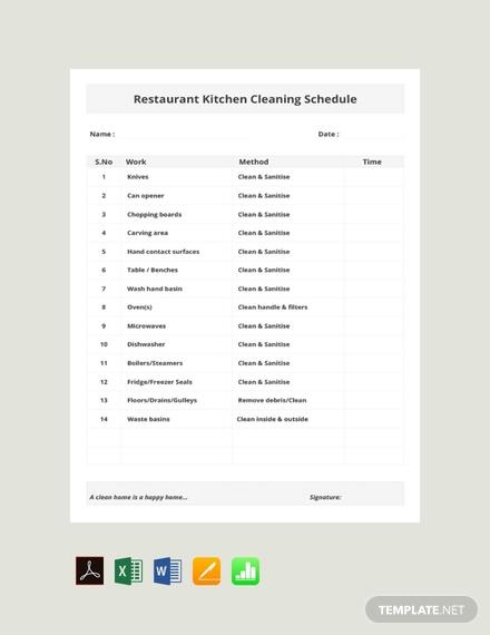 free restaurant kitchen cleaning schedule template 440x570 1