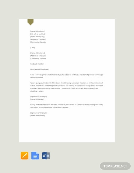 free safety warning letter template 440x570 1