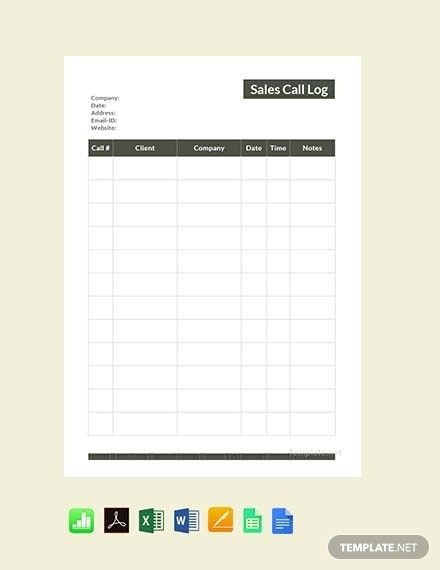 free sales call log template1