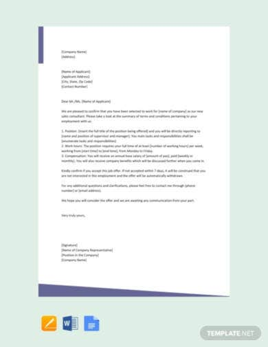 free-sales-consultant-offer-letter