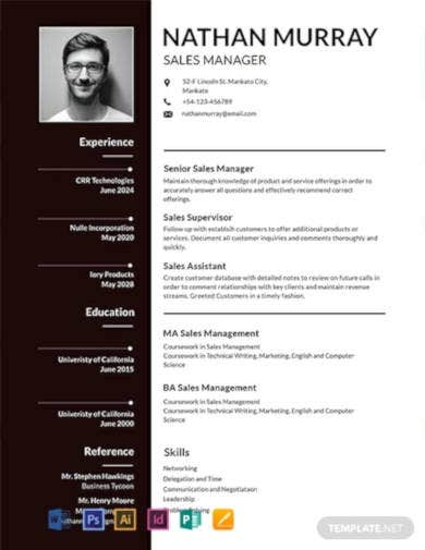 free sales manager resume