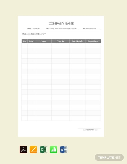 free sample business travel itinerary template 440x570 1