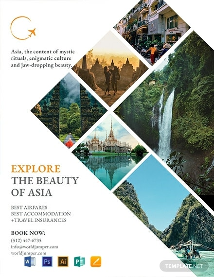 free travel company flyer template 440x570 1
