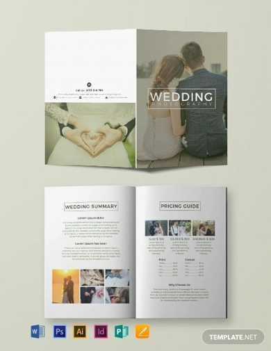 free wedding photography bi fold brochure template