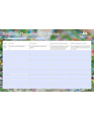 free wedding photography schedule sample